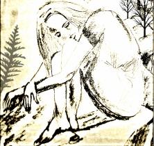 female, sad, drawing