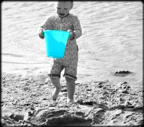 cute picture, blue bucket,